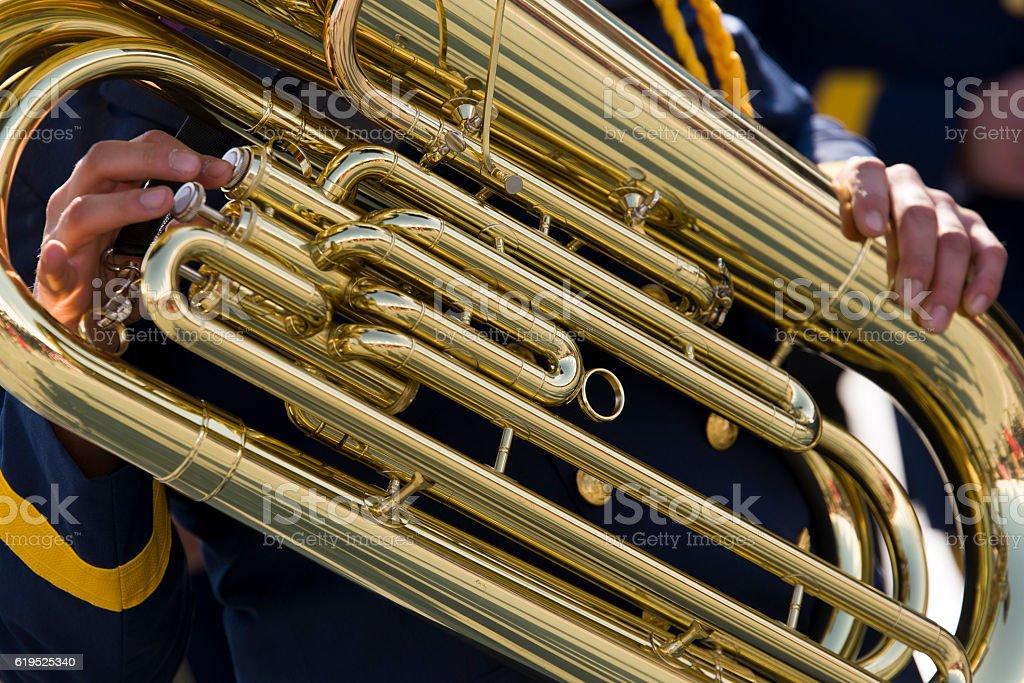 Tuba close up shot. stock photo