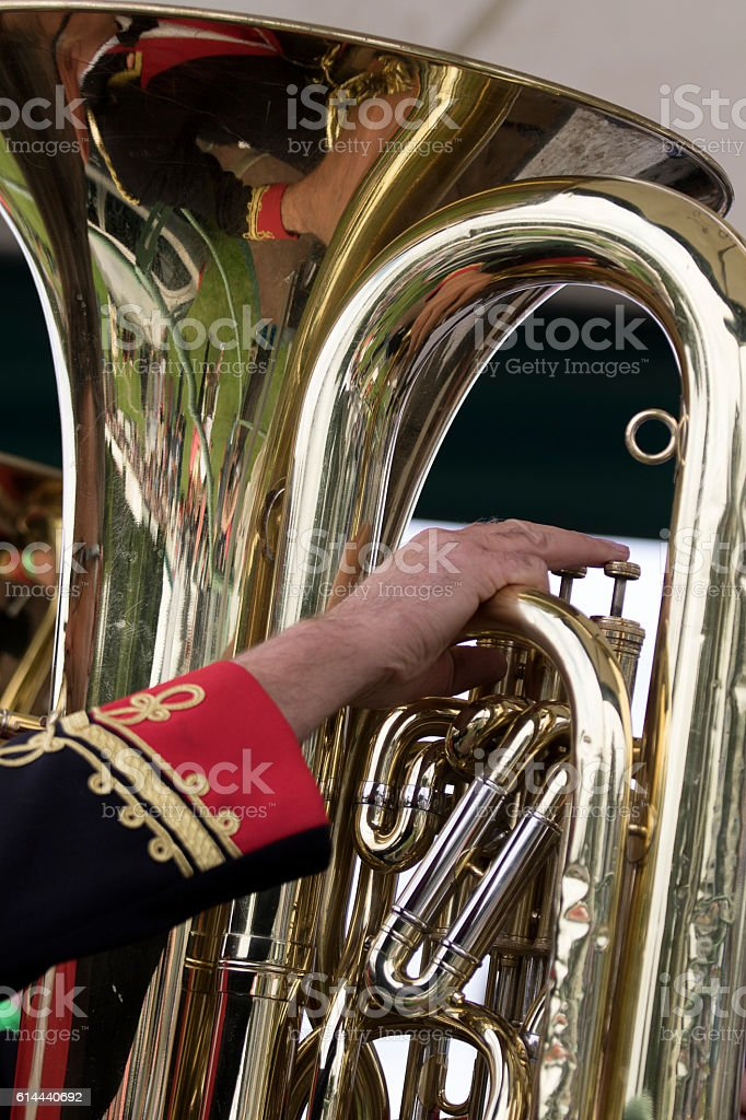 Tuba Player in a Brass Band stock photo