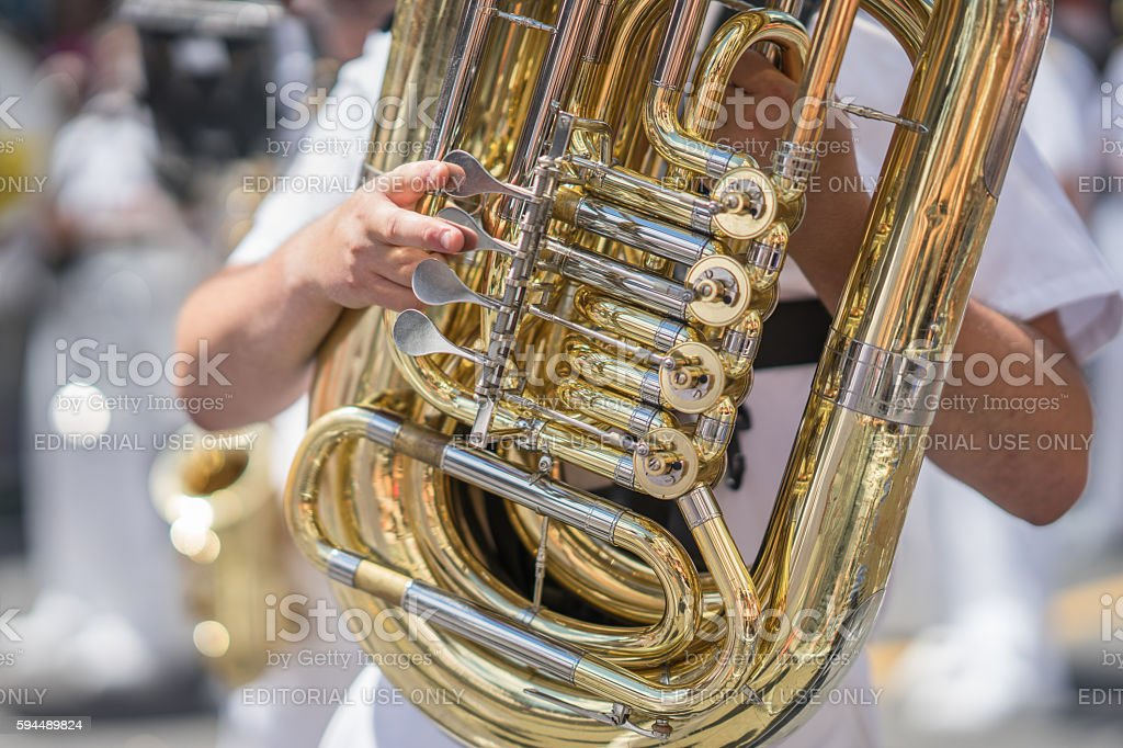 Tuba player in a military or marching band stock photo