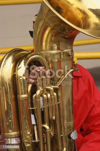 Subject: A tuba player in a German brass band