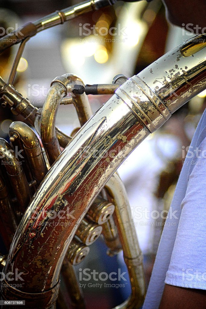 Tuba Sousaphone Brass Player In Marching Band stock photo