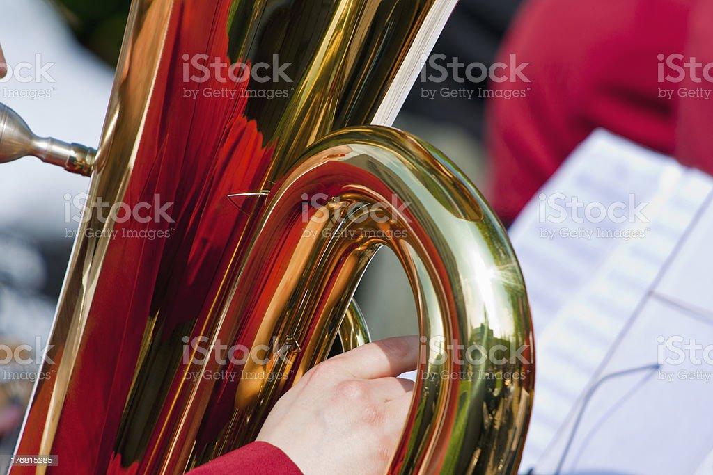 Tuba with reflection stock photo