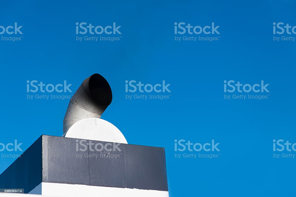 tube cruise ship chimney covered with soot royalty-free stock photo