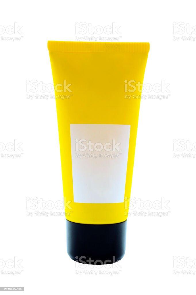Tube of cream on white background stock photo