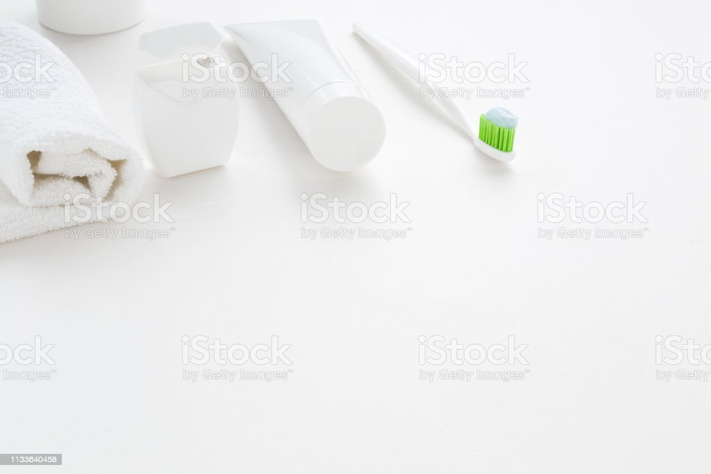Tube Of Toothpaste Toothbrush With Green Bristles Container ...
