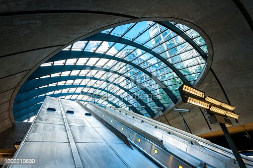 low angle view from subway station on office buildings in, Docklands, City of London, United Kingdom.