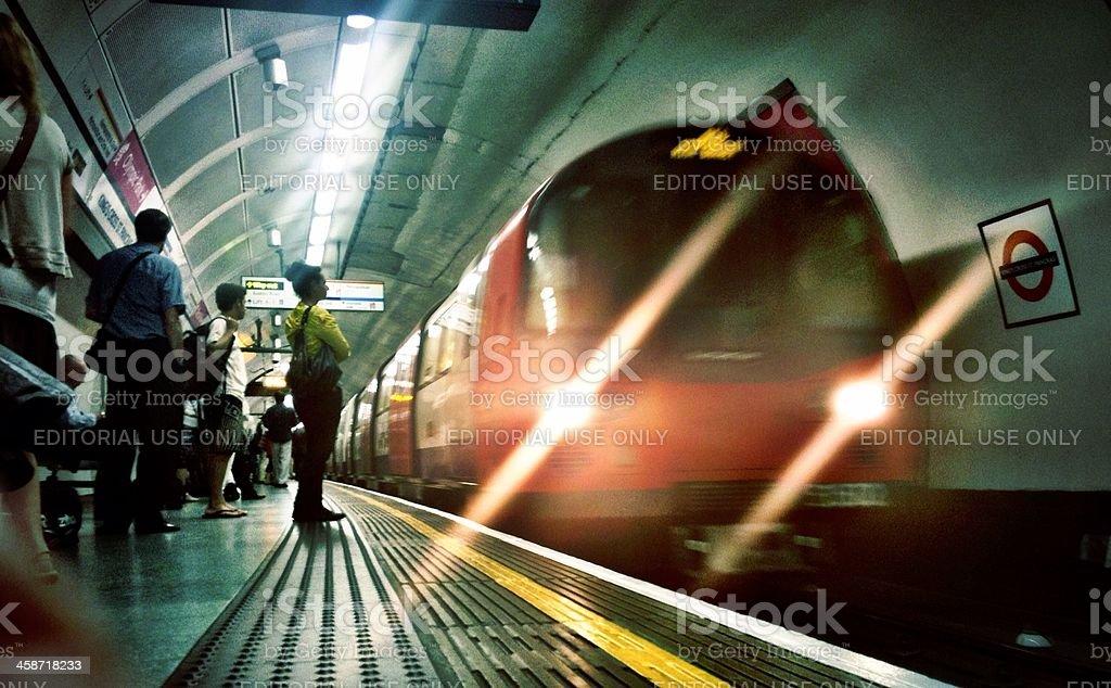 Tube train arriving at Kings Cross station, London. royalty-free stock photo