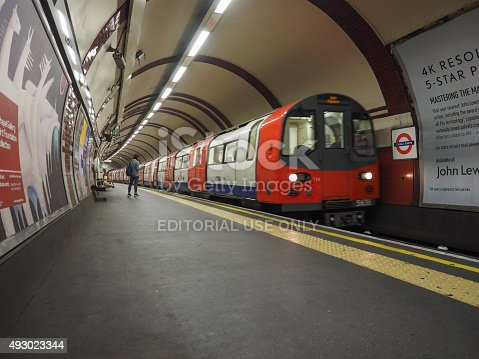 London, UK - September 29, 2015: The London underground also known as The Tube is the first subway ever built in the world and the largest, used by millions of commuters and tourists yearly