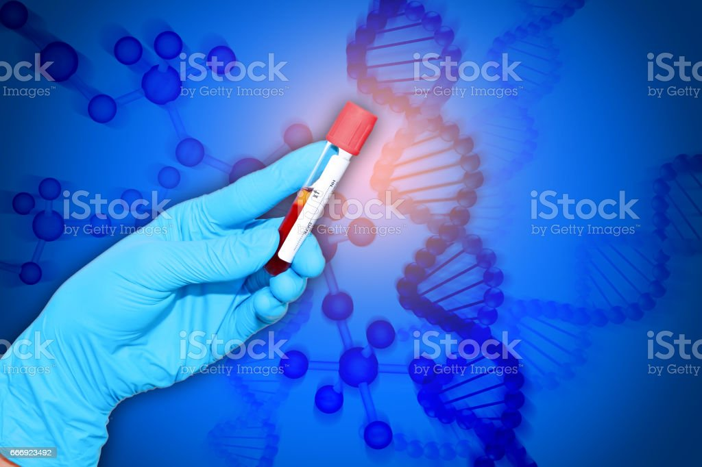 tube with DNA research stock photo