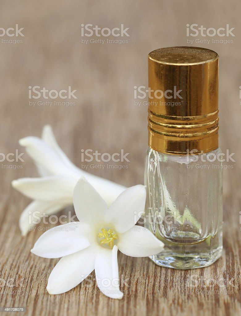 Tuberose or Rajnigandha of Southeast Asia with herbal extract stock photo