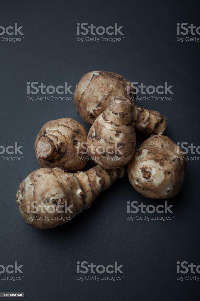Tubers for breastfeeding or Jerusalem artichoke or Jerusalem artichoke (Helianthus tuberosus) stock photo