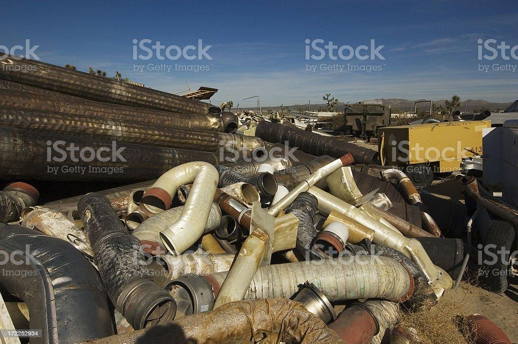 Tubes at Airplane Junkyard royalty-free stock photo