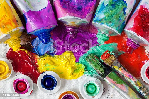 istock Tubes of oil paint, palette and artist paintbrushes 514629056