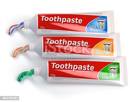 istock Tubes of toothpaste in different colors and differnt types of toothpaste 963295062
