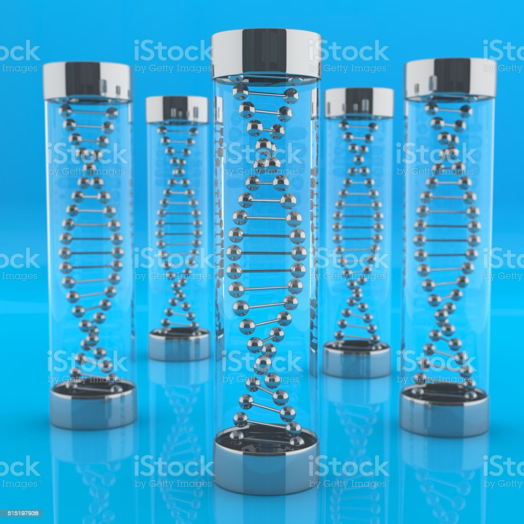 Tubes with DNA molecules stock photo