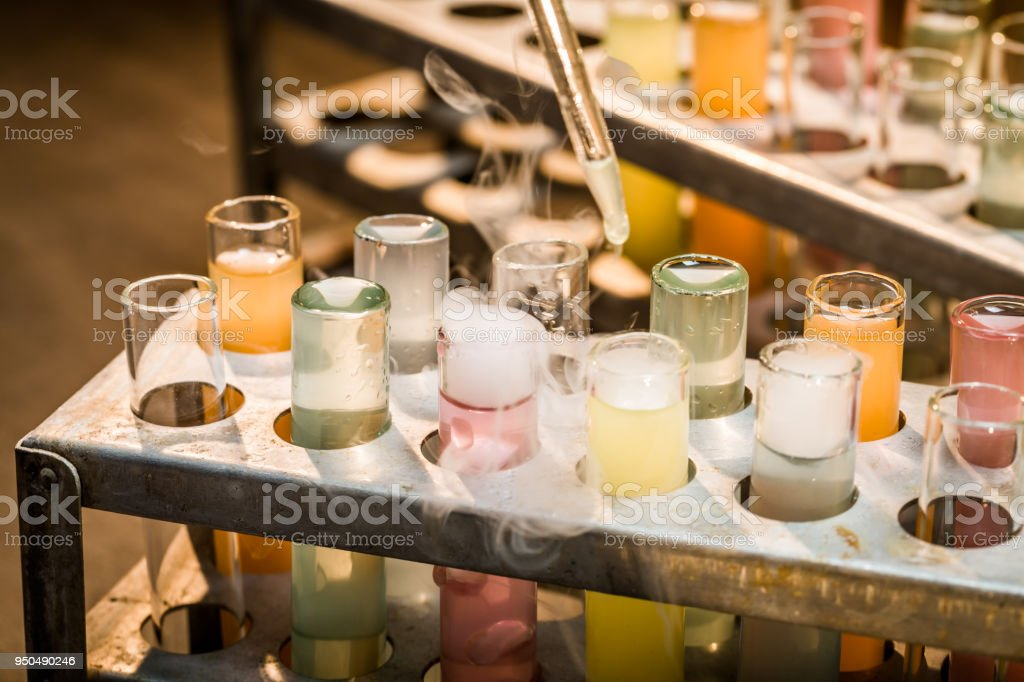 Tubes with reagents in old school laboratory stock photo
