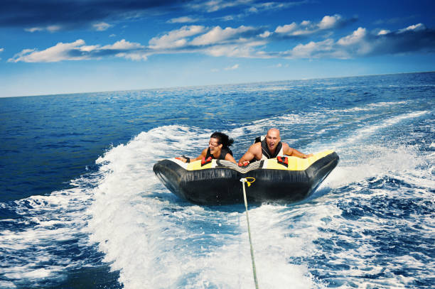 Tubing on a raft. stock photo