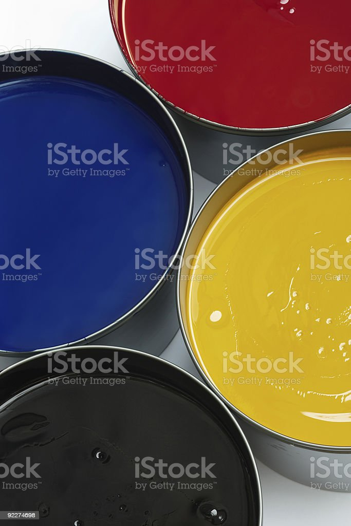 Tubs of process printing inks royalty-free stock photo