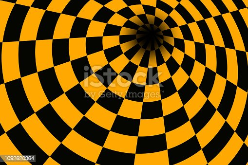Tubular orange & black checkerboard with vanishing point.