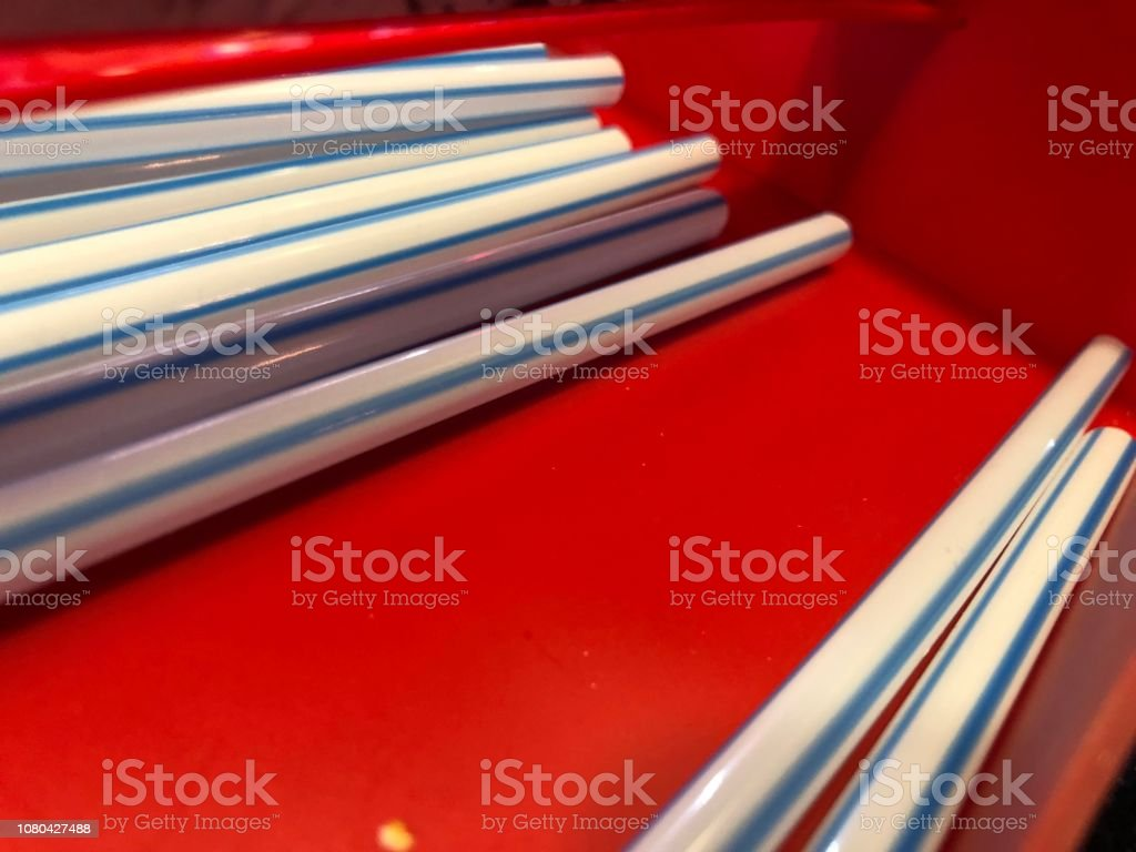 Tubule,Straw,Red,White,Blue stock photo