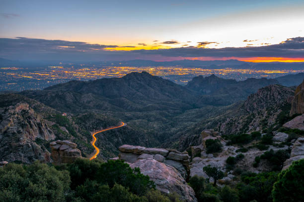 Tucson  Arizona looking from Mt Lemmon after sunset Sunset view of Tucson Arizona looking from Mt Lemmon tucson stock pictures, royalty-free photos & images