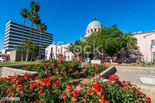 Tucson Arizona Old State Capitol Building and roses