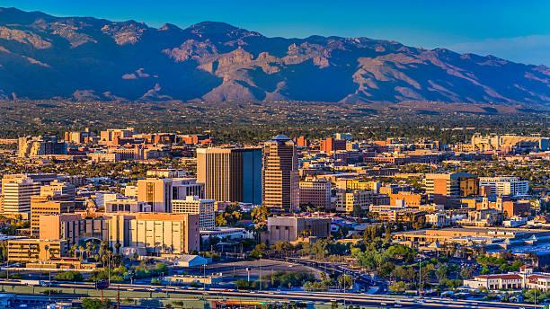 Tucson Arizona skyline cityscape and Santa Catalina Mountains at sunset stock photo