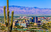 istock Tucson Arizona skyline cityscape framed by saguaro cactus and mountains 483656343