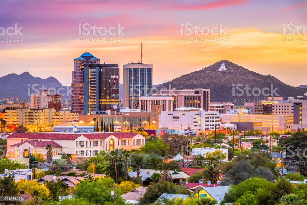 """Tucson, Arizona, USA Skyline Tucson, Arizona, USA downtown skyline with Sentinel Peak at dusk. (Mountaintop """"A""""  for """"Arizona"""") Apartment Stock Photo"""