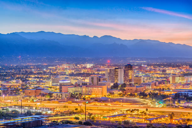 Tucson, Arizona, USA Skyline Tucson, Arizona, USA downtown skyline from Sentinel Peak at dawn. tucson stock pictures, royalty-free photos & images
