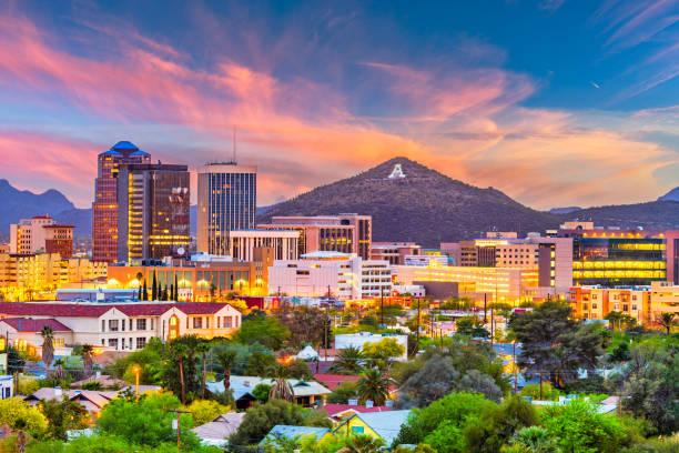 Tucson, Arizona, USA Skyline Tucson, Arizona, USA downtown skyline with Sentinel Peak at dusk. (Mountaintop
