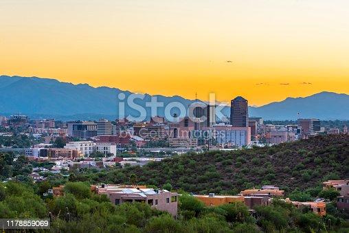 City of Tucson at dawn