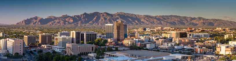 Aerial panorama of Downtown Tucson, Arizona at sunset.