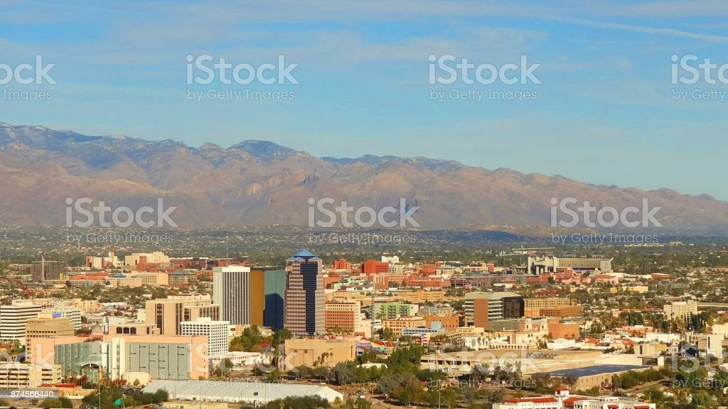 Tucson From A Mountain stock photo