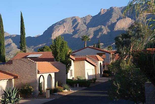 Tucson Mountains An early morning view of the mountains and architecture in Tuscon. tucson stock pictures, royalty-free photos & images