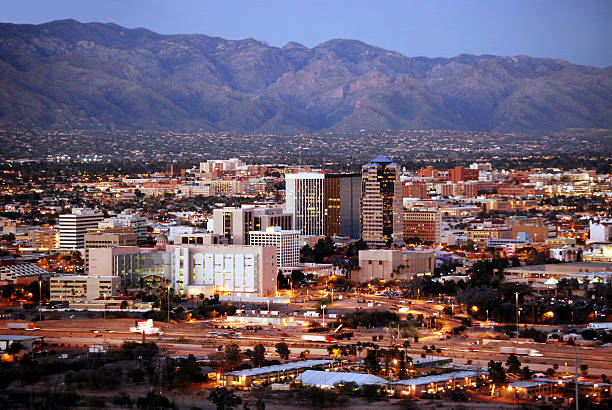 Tucson skyline after dark  tucson stock pictures, royalty-free photos & images