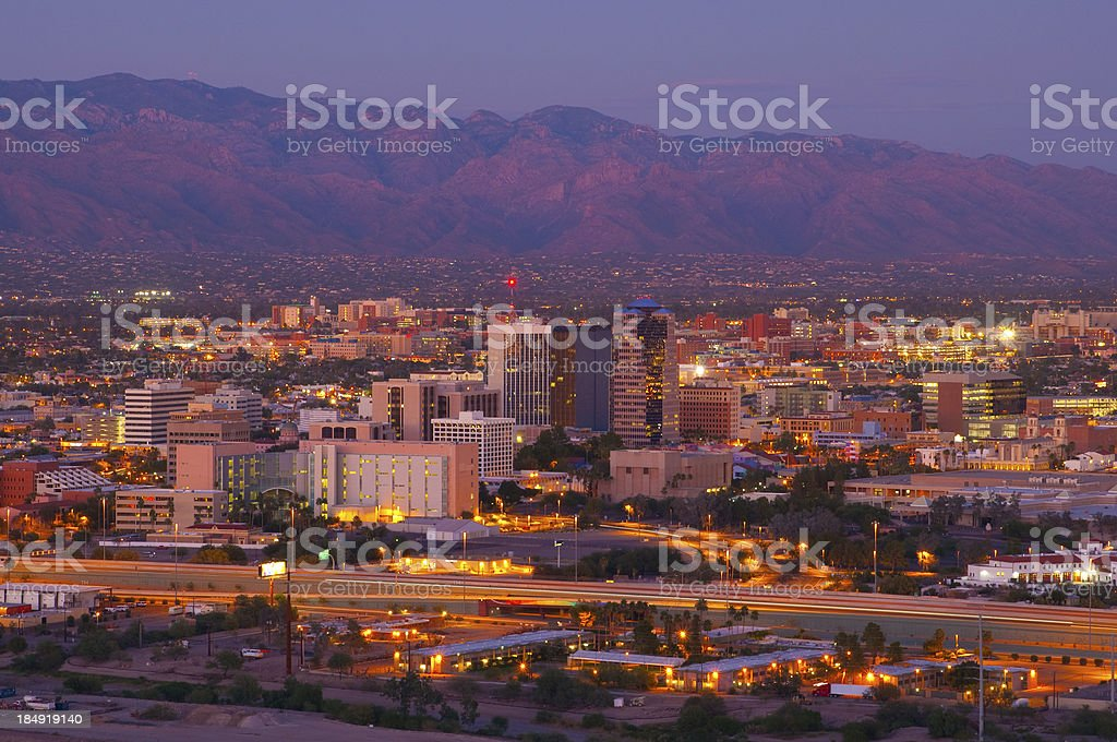 Tucson skyline and Catalina Mountains at dusk royalty-free stock photo