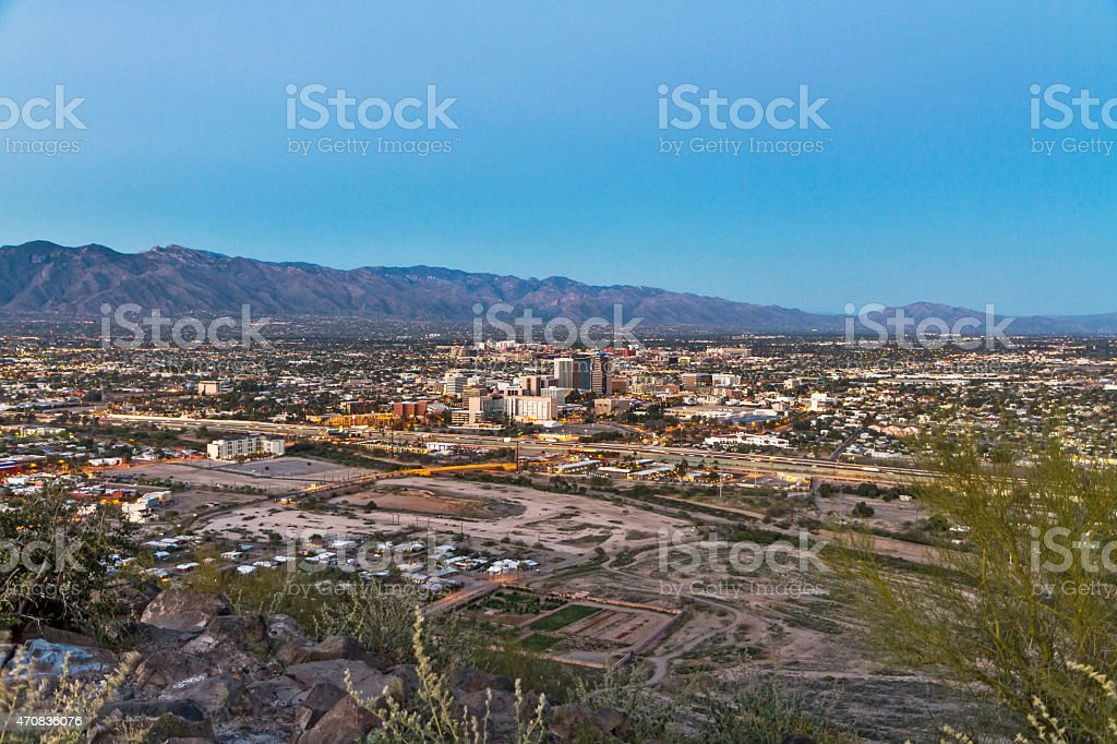 Tucson Skyline Downtown and Santa Catalina Mountains at Sunset stock photo