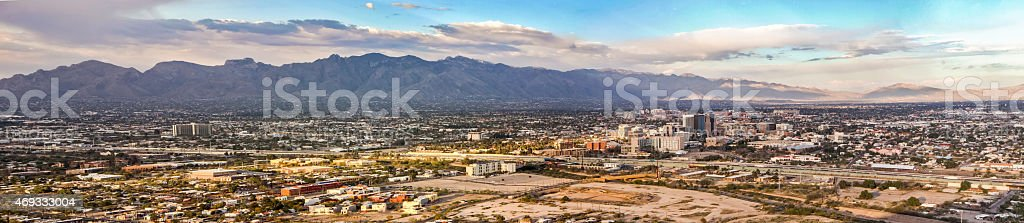 Tucson Skyline Downtown and Santa Catalina Mountains - Panoramic stock photo