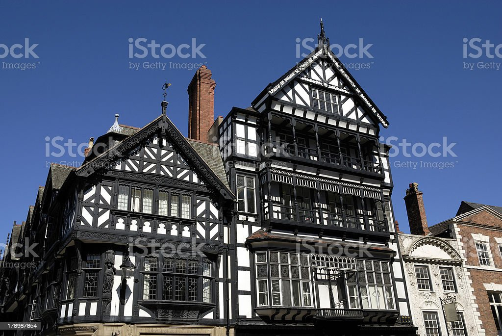 Tudor Black and White Building royalty-free stock photo