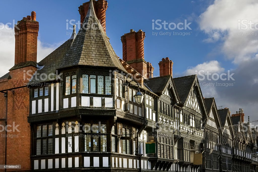 Tudor Black and White Buildings Chester stock photo