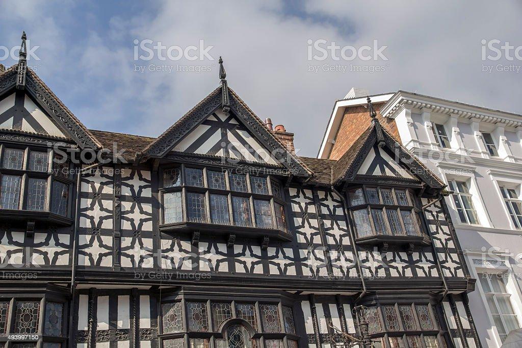 Tudor Frontages on High Street, Shrewsbury stock photo