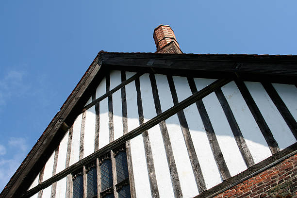 Tudor gable, part of mediaeval manor house at Gainsborough, Lincolnshire stock photo