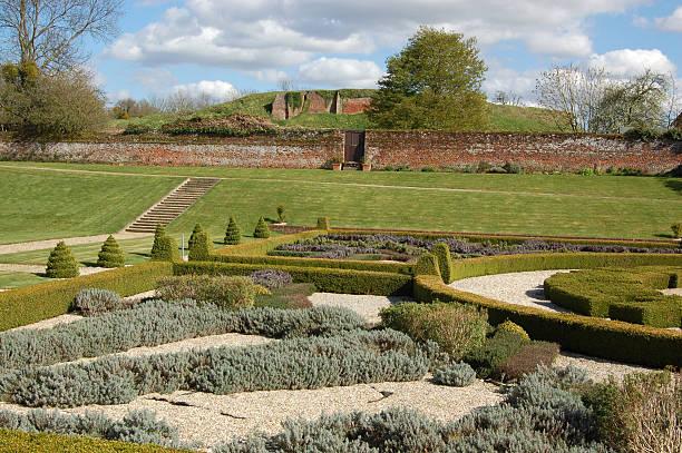 Tudor garden, Basing House stock photo