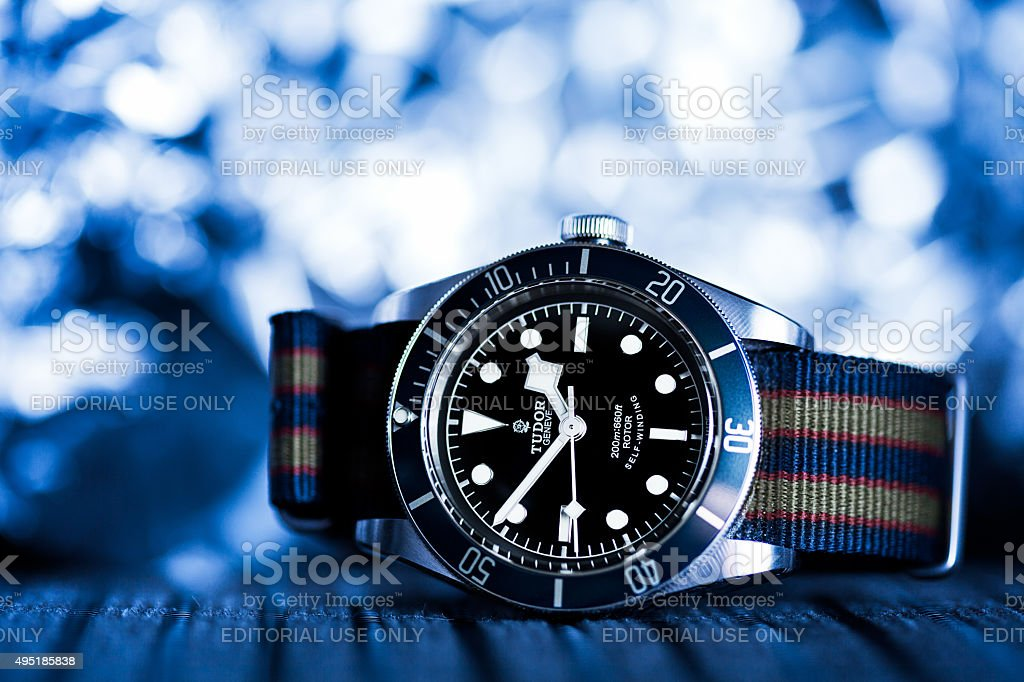 Tudor Heritage Black Bay on 'Bond' NATO strap stock photo