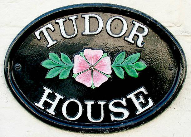 Tudor house name plate stock photo