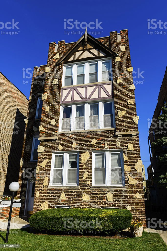 Tudor Revival Apartment Building, Calumet Heights, Chicago royalty-free stock photo