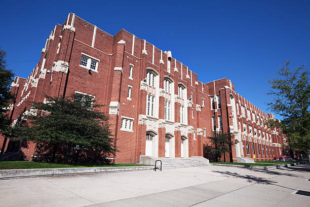 Tudor Revival High School Building in Roseland, Chicago  high school building stock pictures, royalty-free photos & images