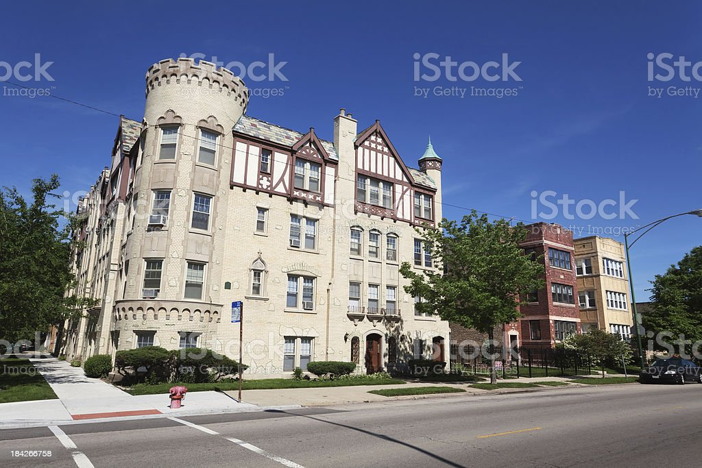 Tudor Revival Style Apartment Building in North Park, Chicago royalty-free stock photo
