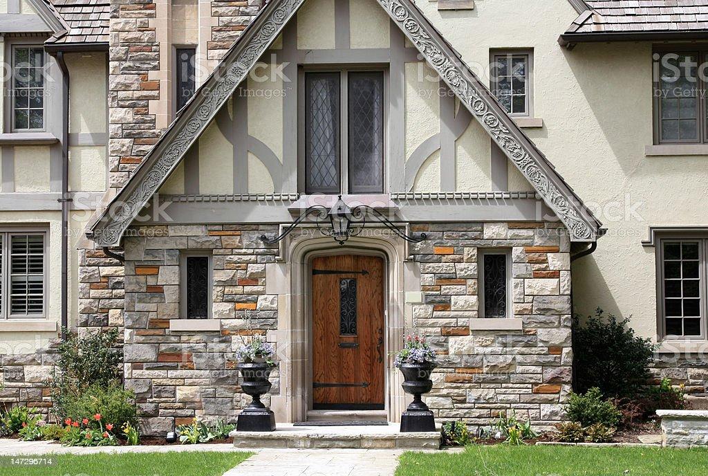 Tudor style house entrance stock photo